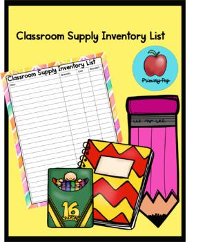Classroom Supply Inventory List
