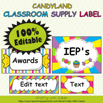 Classroom Supply Label, Editable Labels in Candy Land Theme - 100% Editble