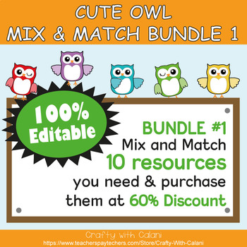 Classroom Supply Label, Editable Labels in Cute Owl Theme - 100% Editble