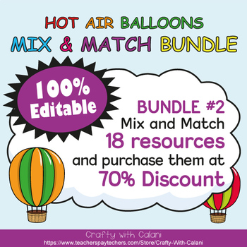 Classroom Supply Label, Editable Labels in Hot Air Balloons Theme - 100% Editble