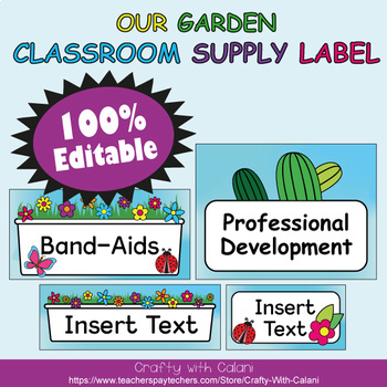 Classroom Supply Label, Editable Labels in Flower & Bugs Theme - 100% Editable