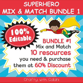 Classroom Supply Label, Editable Labels in Superheroes Theme - 100% Editab