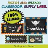 Classroom Supply Label, Editable Labels in Witch & Wizard Theme - 100% Editab