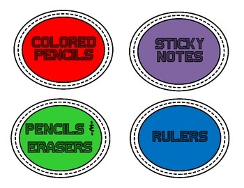 Back to School-Classroom Supply Labels
