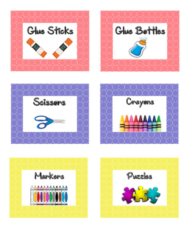 Classroom Supplies Labels