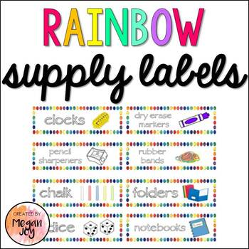 Classroom Supply Labels (Rainbow Border)