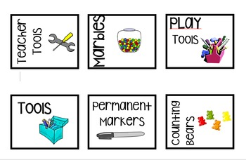 EDITABLE Classroom Supply Labels Black and White with Clipart!
