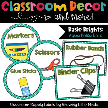 Classroom Supply Labels- Aqua