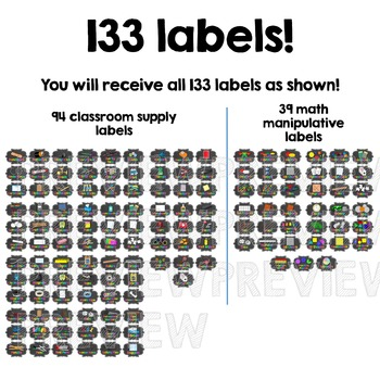 Classroom Supply Labels BUNDLE - Neon Brights Chalkboard