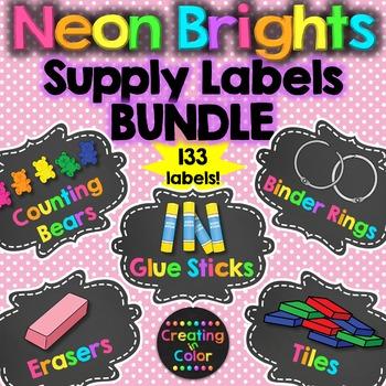 Classroom Supply Labels BUNDLE - Neon Brights Chalkboard