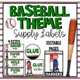 Classroom Supply Labels | Baseball Theme Decor - Editable