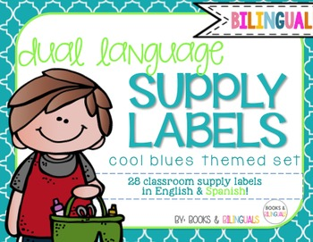 Classroom Supply Labels {Bilingual} Cool Blues Theme
