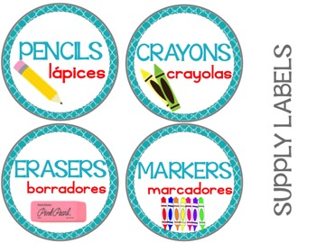 Classroom Supply Labels {Bilingual} Berry Cool Theme