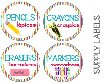 Classroom Supply Labels {Bilingual} Brights Theme