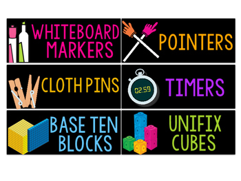 Classroom Supply Labels- Black & Neon (English & Spanish)