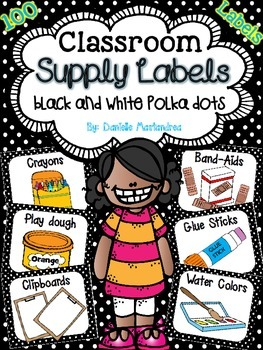 Classroom Supply Labels {Black & White Polka Dot Theme}