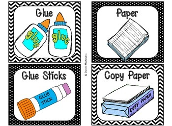 Classroom Supply Labels {Black & White Theme}