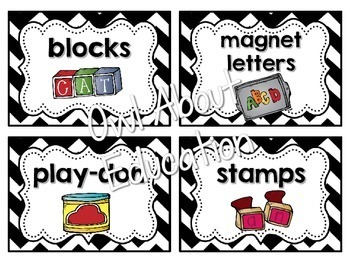 Classroom Supply Labels {Black and White Chevron}