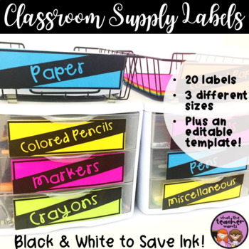 Classroom Supply Labels - Black and White - Ink Saving