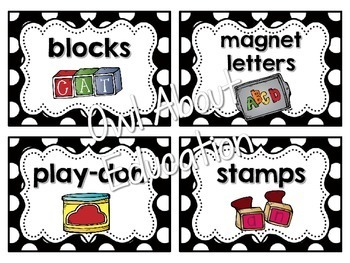 Classroom Supply Labels {Black and White Polka Dot}
