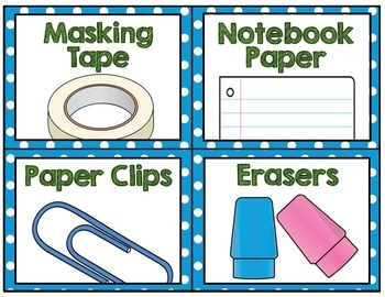 Classroom Supply Labels- Blue