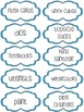 Classroom Supply Labels - Blue Stitches
