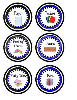 Classroom Supply Labels- Blue and Black