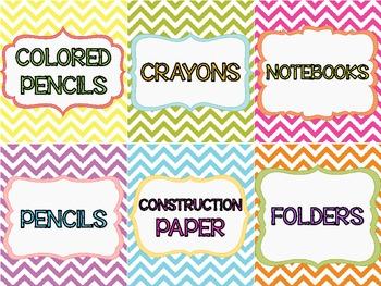 Classroom Supply Labels {Bright & Colorful Chevron}