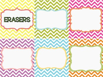 Classroom Supply Labels {Bright & Colorful Chevron}