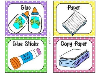 Classroom Supply Labels {Bright Polka Dot Theme}