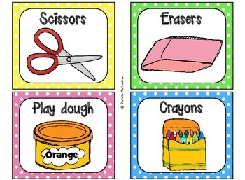 Classroom Supply Labels {Bright Polka Dot Theme}