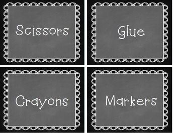 Classroom Supply Labels - CHALKBOARD THEMED