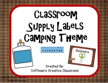 Classroom Supply Labels- Camping Theme