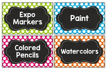 Classroom Supply Labels- Chalkboard and Bright Colors