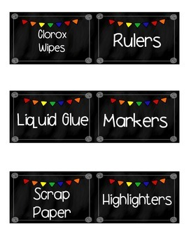 Classroom Supply Labels- Chalkboard and Primary Theme