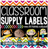 Classroom Supply Labels - Chevron brights!