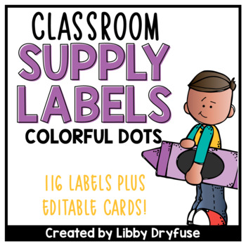 Classroom Supply Labels {Colorful Polka Dot}