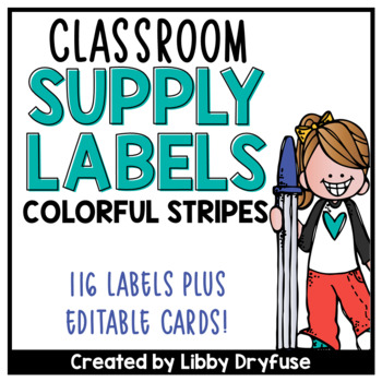Classroom Supply Labels {Colorful Stripes}