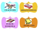 Classroom Supply Labels (Colorful)
