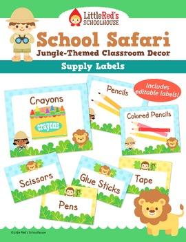 Classroom Supply Labels - Customizable - Jungle Safari Theme