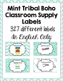 Classroom Supply Labels English Only Mint Chevron, Boho, H