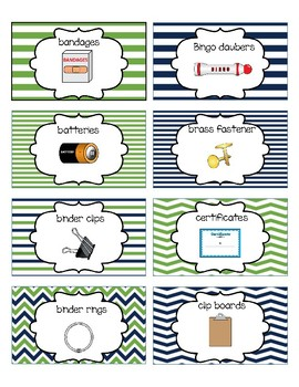 Classroom Supply Labels English Only Nautical Navy and Green