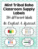 Classroom Supply Labels English and Spanish Mint Chevron, Boho, Hipster, Arrows