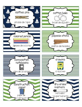 Classroom Supply Labels English and Spanish- Nautical Navy and Green