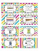Classroom Supply Labels English and Spanish Rainbow Chevron