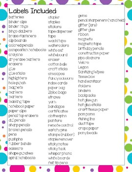 Classroom Supply Labels English and Spanish Rainbow Chevron