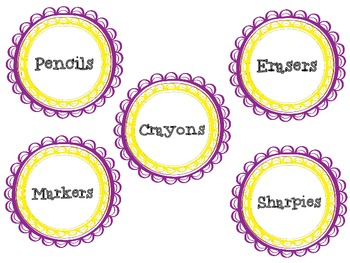 Classroom Supply Labels - FREEBIE! Yellow and Purple