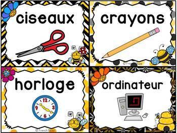 Classroom Supply Labels French - 100 étiquettes pour la classe - Abeilles