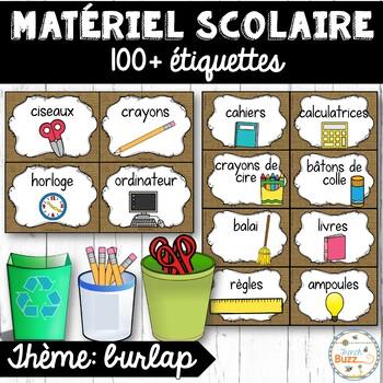 Classroom Supply Labels French - 100 étiquettes pour la classe - Burlap (toile)