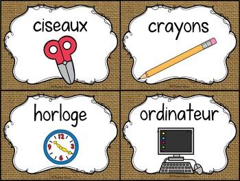 Classroom Supply Labels French - 100+ étiquettes pour la classe - Burlap (toile)